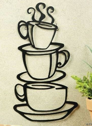 Coffee Cups Silhouette Cutout Metal Mug Wall Hanging Art Kitchen Accent Decor