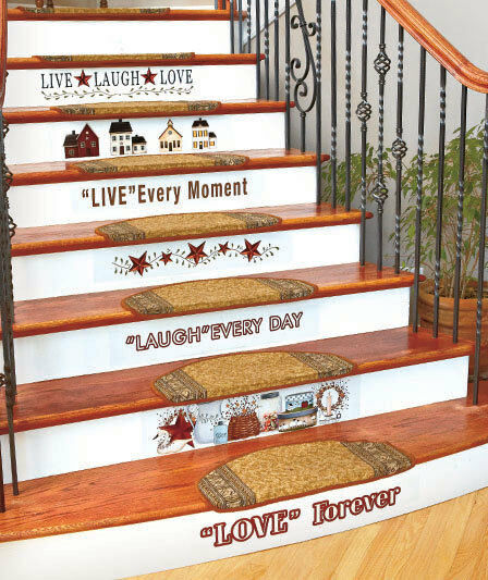 country home stairs decal set primitive stars berries folk art wall decor ebay. Black Bedroom Furniture Sets. Home Design Ideas