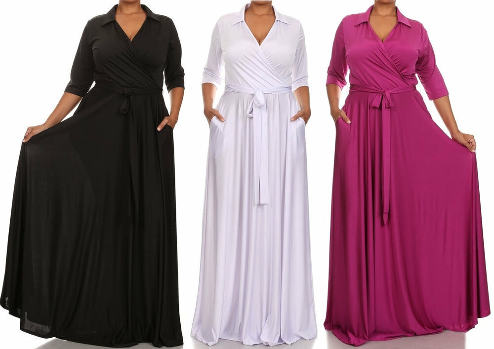 Plus Size Collared Faux Wrap Maxi Dress Pocket Full Sweep
