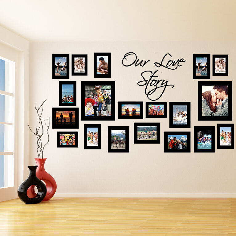 vinyl wall decal picture frames our love story photo frame art decor sticker ebay. Black Bedroom Furniture Sets. Home Design Ideas