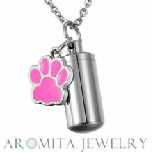 NEW Pink Dog Paw Cylinder Cremation Jewelry Keepsake Pet Urn Necklace Key Chain
