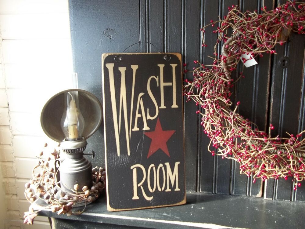 Wood sign wash room prim rustic country home decor laundry for Room decor signs