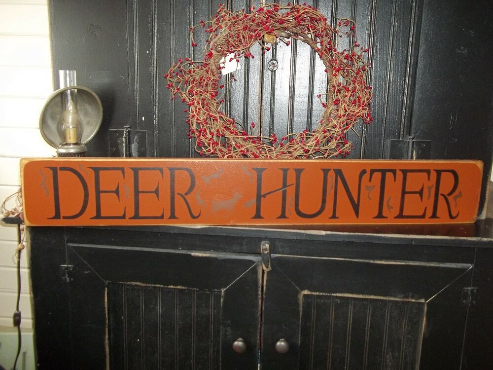 Country Man Cave Decor : Wood hunting sign deer hunter handmade country rustic man