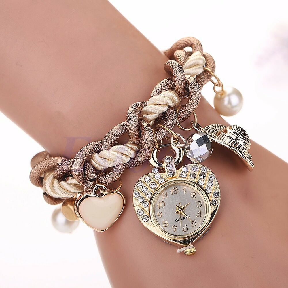 Charm Bracelet Watches: Fashion Women Rhinestone Dial Stainless Steel Heart