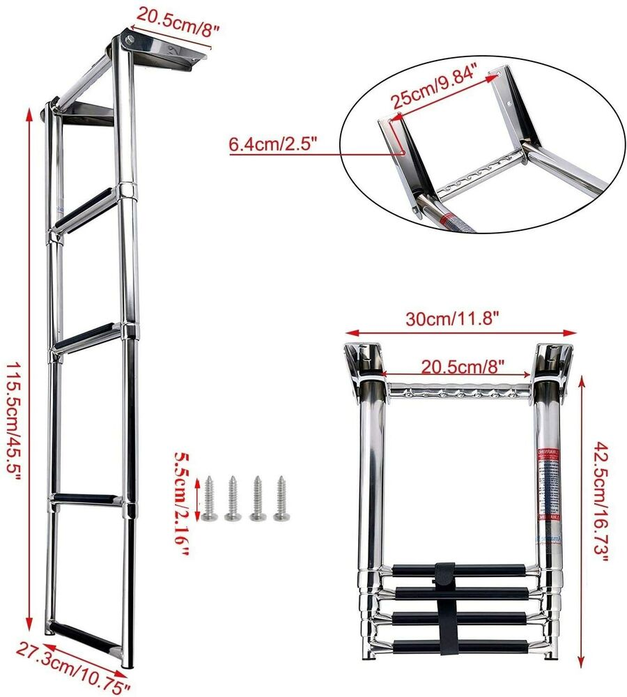 Telescopic Ladder Parts : New step telescoping swim marine boat ladder stainless
