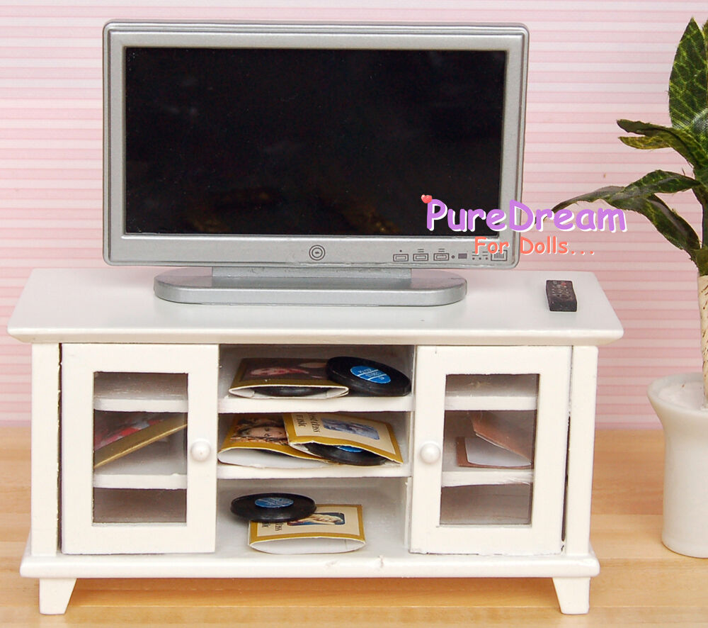 Dollhouse Miniatures Tv: 1:12 Dollhouse Miniature TV And TV Cabinet/Stand/ Bench