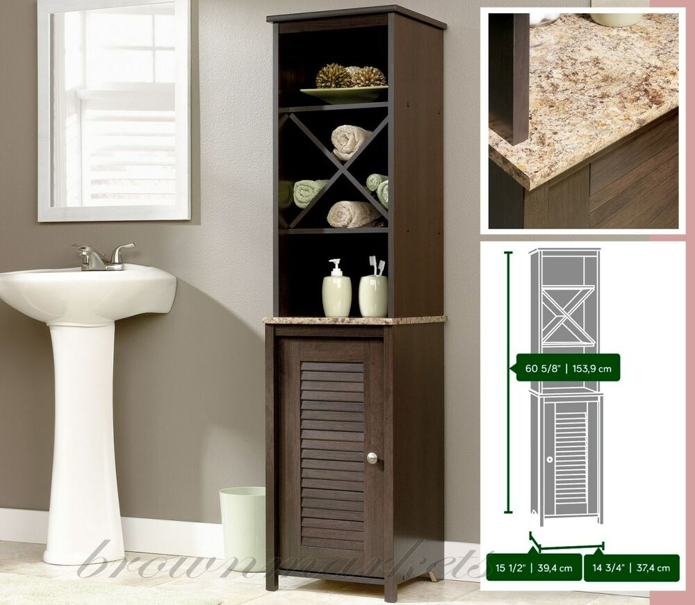 Bathroom Storage Cabinet Tall Linen Tower Wood Cupboard Shelves Towel Organizer