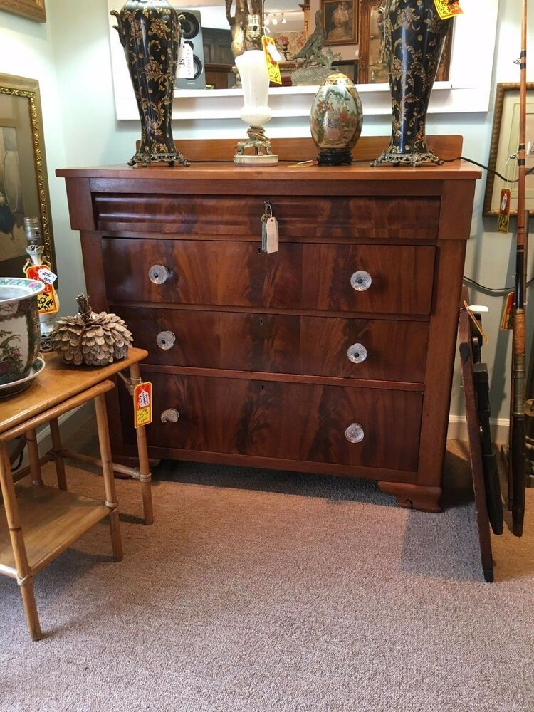 Empire Large 1800 S Flame Mahogany Chest Of Drawers Ebay