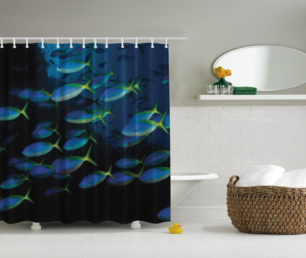 Ocean Decor For Bathroom: Under The Sea Photographic Shower Curtain Ocean Glowing
