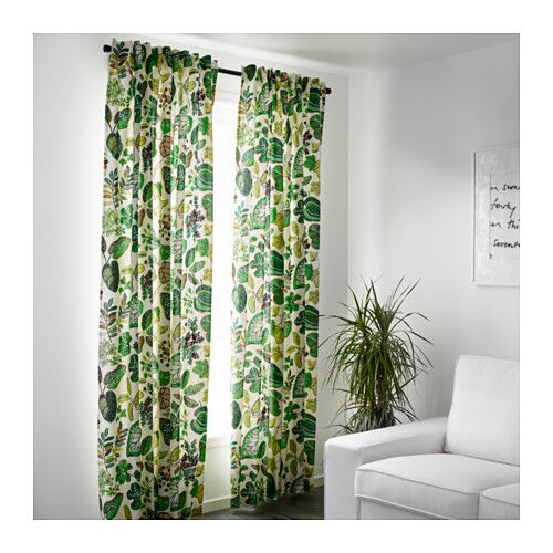 Ikea Syssan Curtains 1 Pair White Green 2 Panels 57 Quot X 98