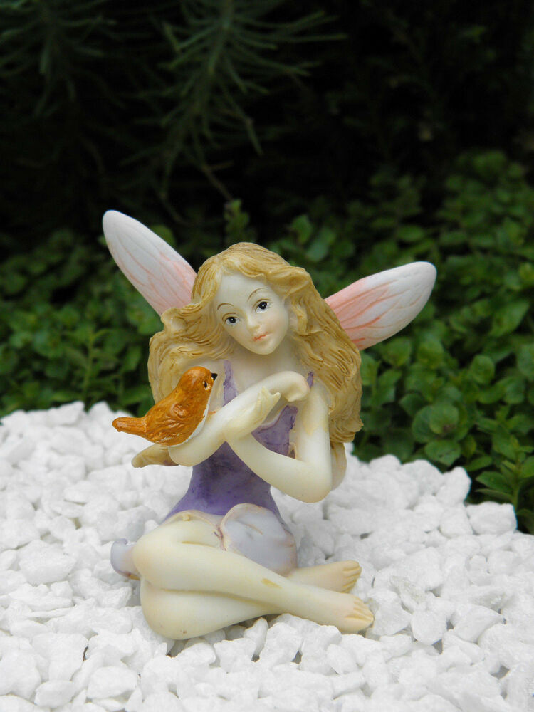 miniature figurine fairy garden pink amp purple fairy figurine with bird new ebay
