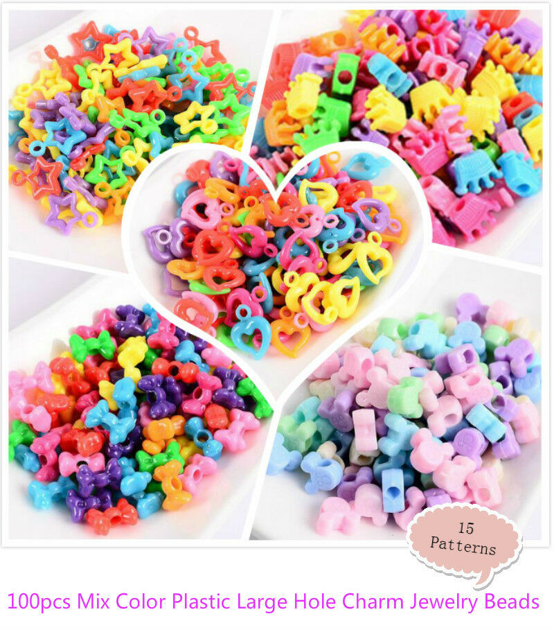 Kid Craft Beads: 100pcs Mix Color Plastic Large Hole Charm Jewelry Pony