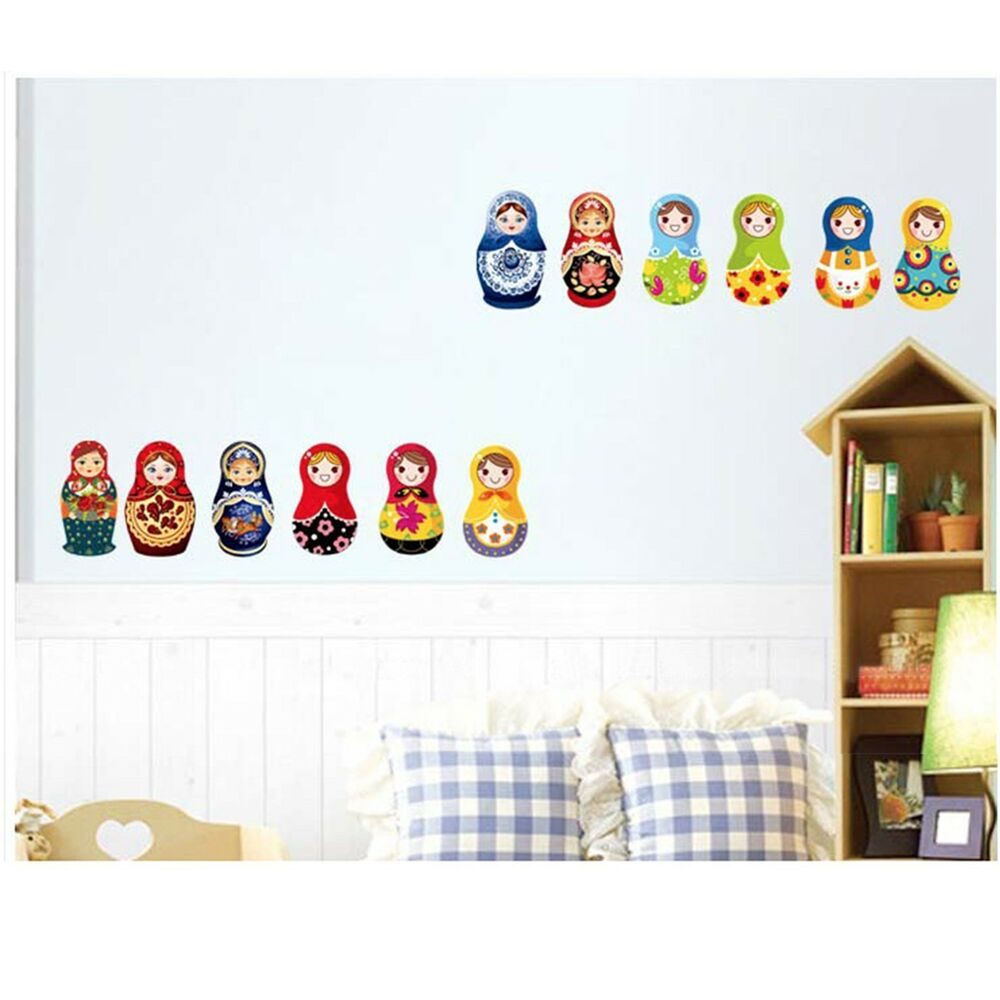 russian doll removable wall decal stickers home decor kids