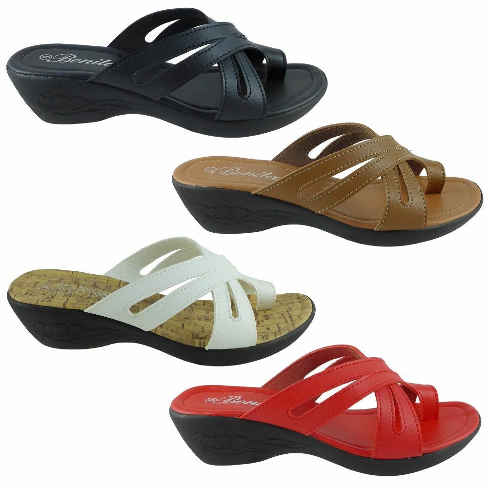 New Womens Sets Of Toe Sandals Wedge Shoes Low Heels Size ...