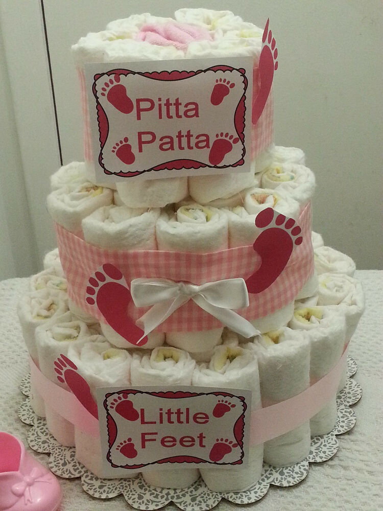 3 tier footprints baby feet gingham diaper cake baby for Baby footprints cake decoration