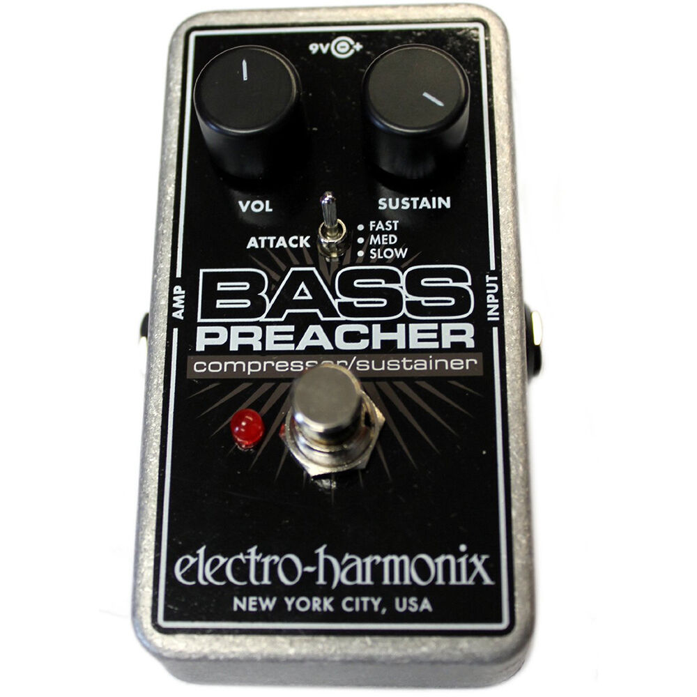 electro harmonix bass preacher compressor sustainer guitar effects pedal ebay. Black Bedroom Furniture Sets. Home Design Ideas