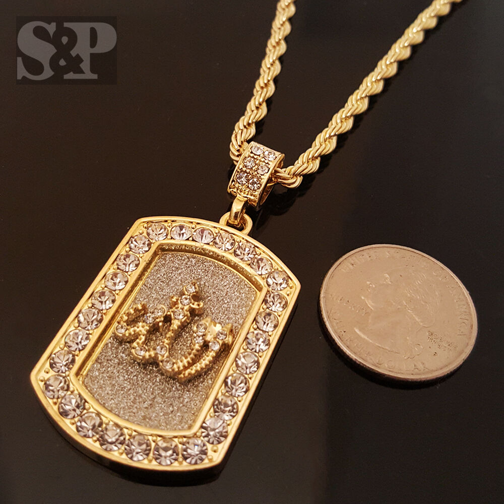 hip hop gold iced out allah muslim cz tag pendant 24