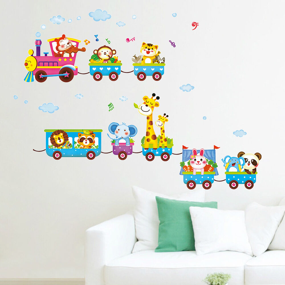 Animals train wall stickers nursery decor baby kids art for Baby mural stickers