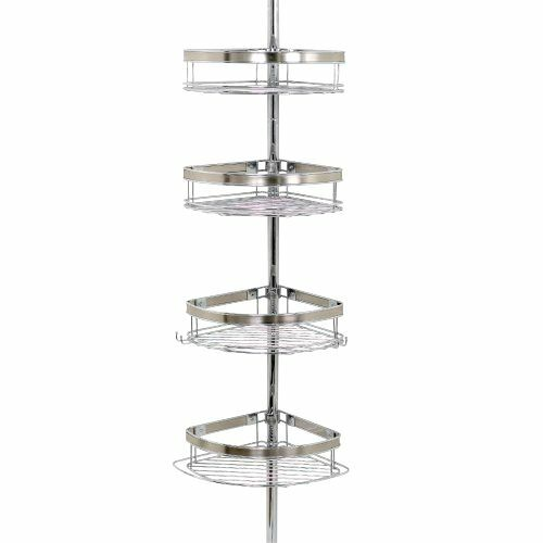 New Shower Tub Pole Tension Corner Caddy Chrome Bathroom