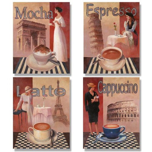 4 Coffee Posters Kitchen Cafe Decor Paris Art Print Walls