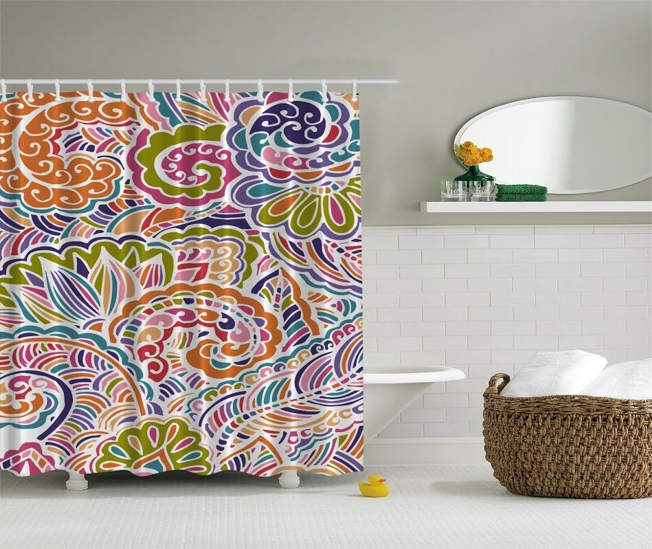 Colorful paisley pattern graphic shower curtain orange for Colorful bathroom decor