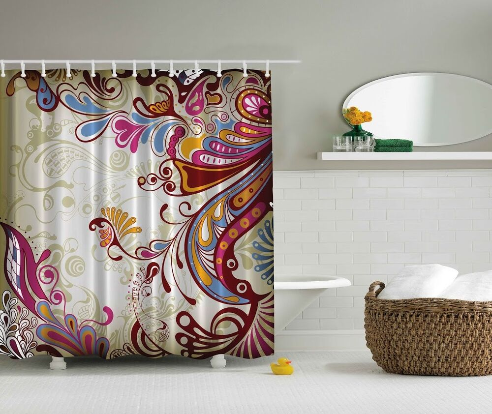 Raspberry Bathroom Accessories: Colorful Paisley Pattern Graphic Shower Curtain Blue