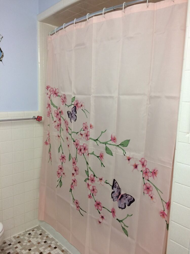 Cherry blossom shower curtain butterfly pink floral flower for Floral bath accessories