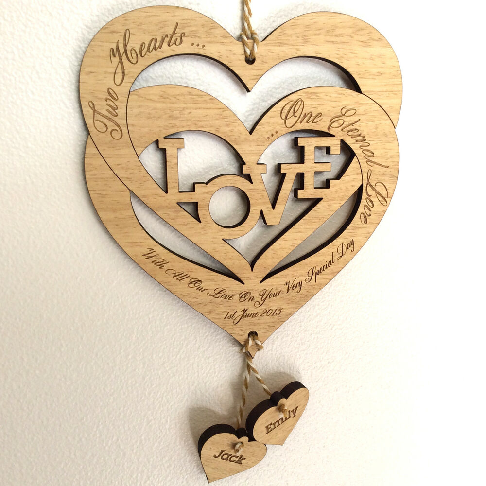 personalised valentine's day gift entwined wood love hearts romantic