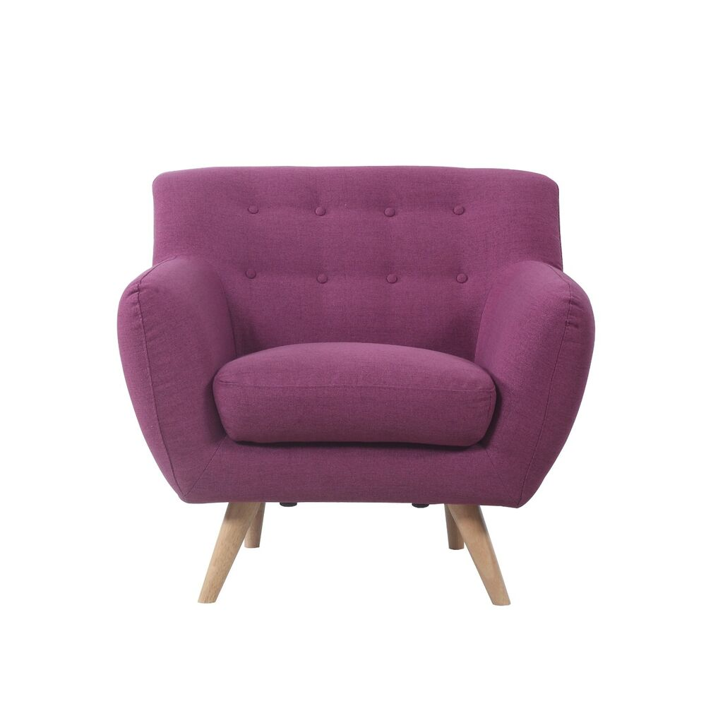 Mid Century Modern Tufted Button Large Living Room Accent Purple Chair Ebay