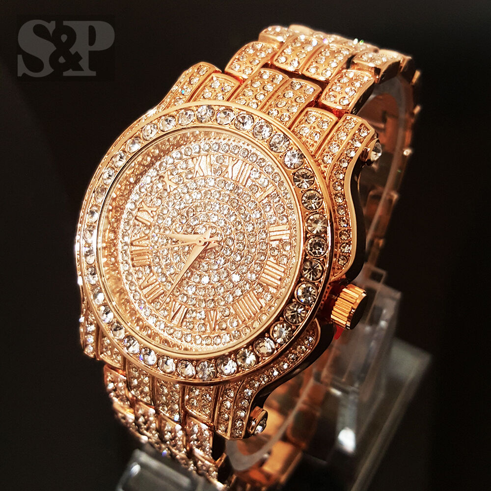 men hip hop iced out rose gold techno pave bling simulated