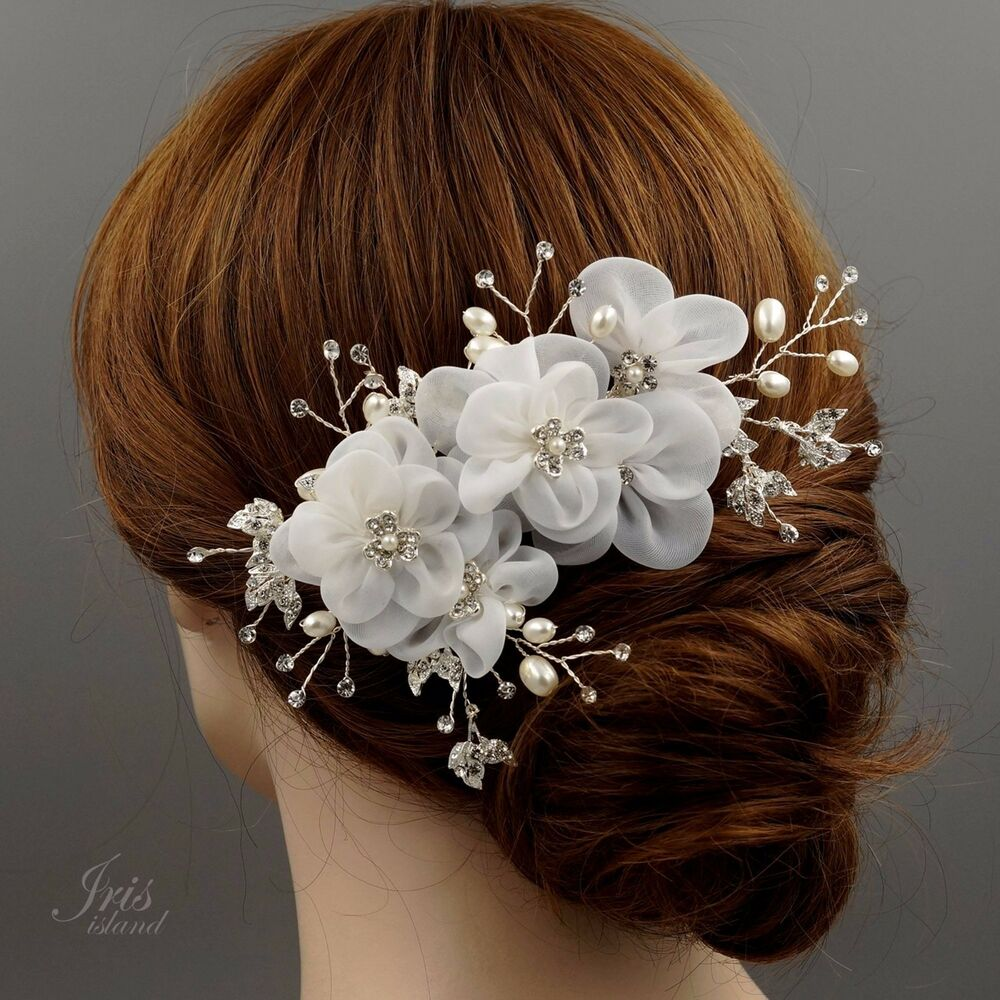 Wedding Hairstyles With Hair Jewelry: Bridal Hair Comb White Silk Flower Crystal Pearl Headpiece