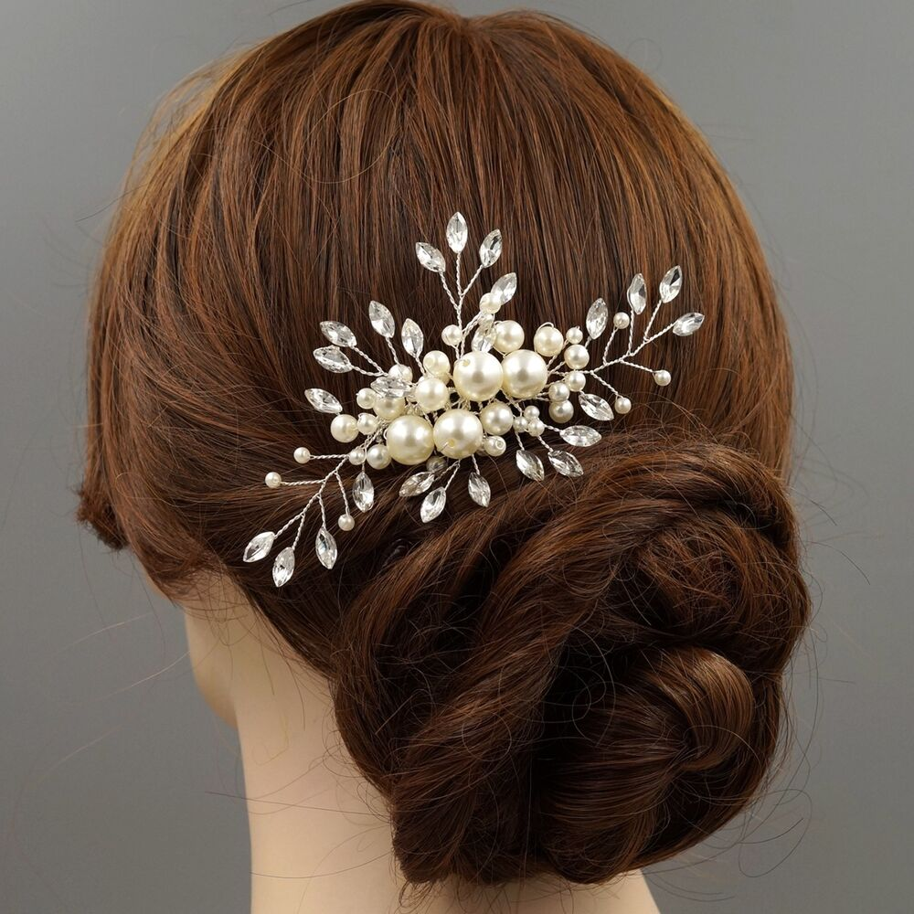 Wedding Hairstyles With Hair Jewelry: Bridal Hair Comb Clear Crystal Pearl Headpiece Wedding