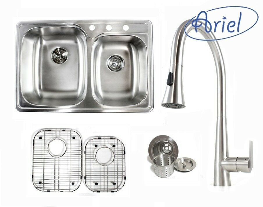 Ariel 33 Inch Stainless Steel Top Mount 60 40 Double