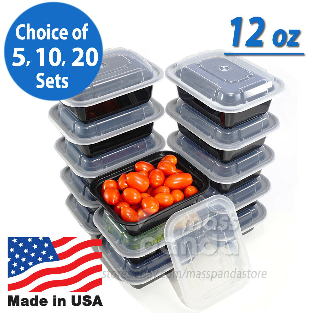 12oz meal prep food containers with lids reusable microwavable plastic bpa free ebay. Black Bedroom Furniture Sets. Home Design Ideas