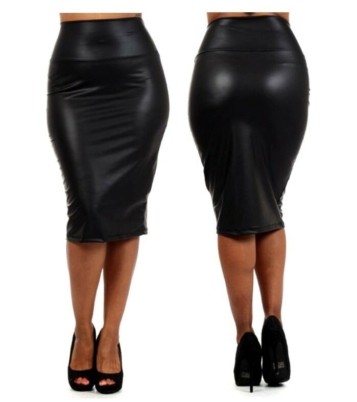 black faux liquid leather high waist below knee