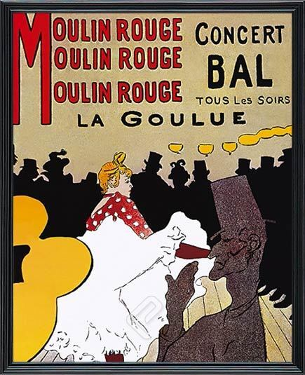 moulin rouge by henri de toulouse lautrec framed vintage ad poster reproduction ebay. Black Bedroom Furniture Sets. Home Design Ideas
