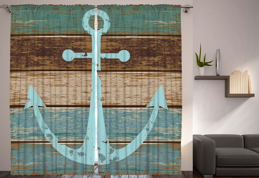 Wooden Coastal Decor: Set Of Two Rustic Old Anchor Window Panels Wooden Deck