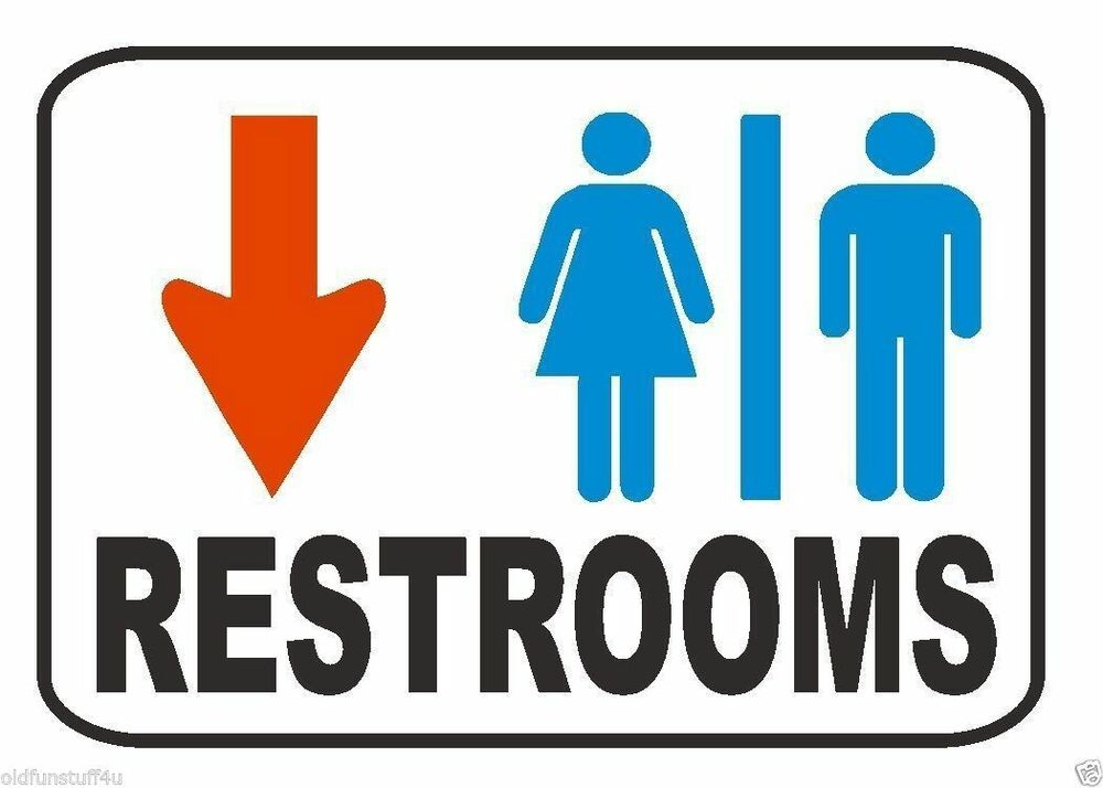Restroom sign male female down arrow safety business sign for Male female bathroom sign images