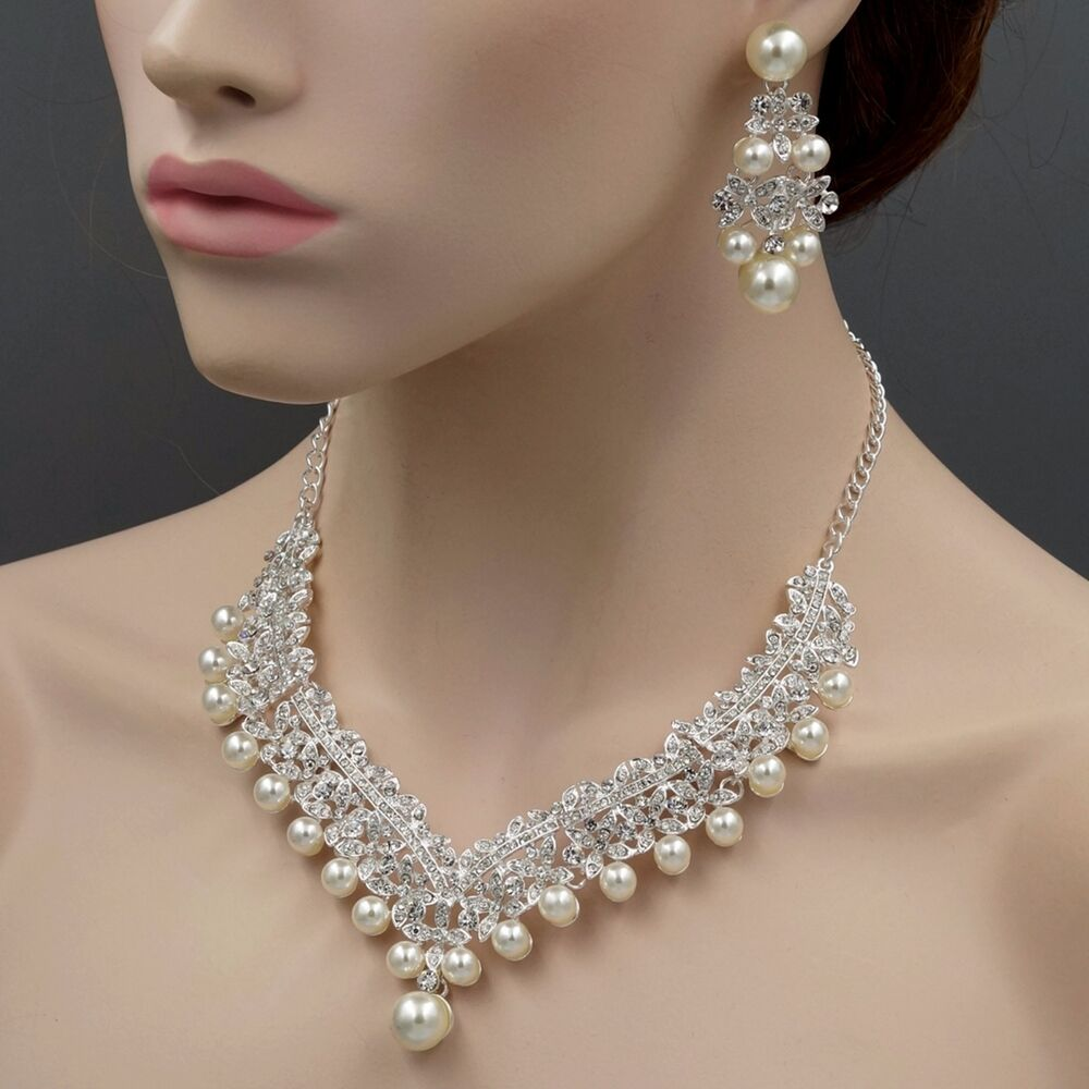 wedding ring necklace silver plated pearl necklace earrings bridal 9968