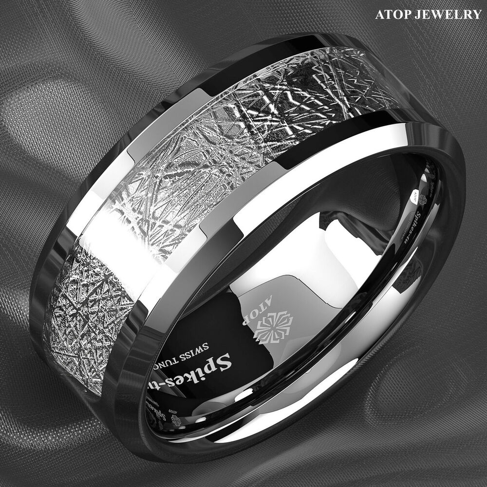 8mm Silver Tungsten Carbide Ring Sterling Silver Inlay