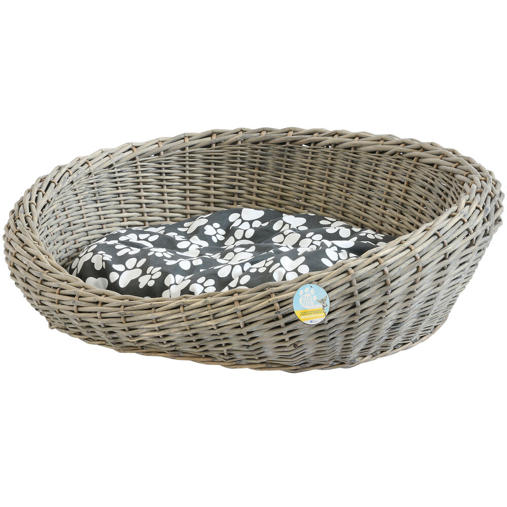 How To Weave A Cat Basket : Me my pets oval woven wicker pet bed basket dog puppy