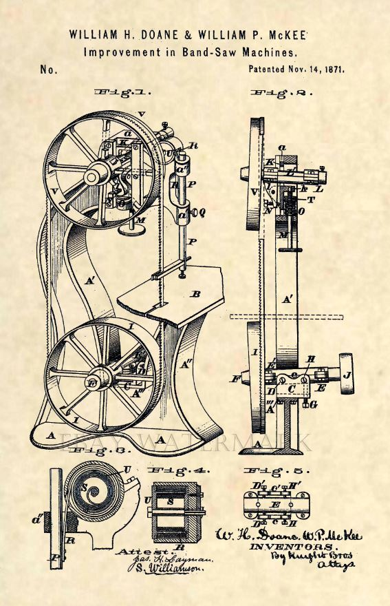 Official Band Saw Us Patent Art Print