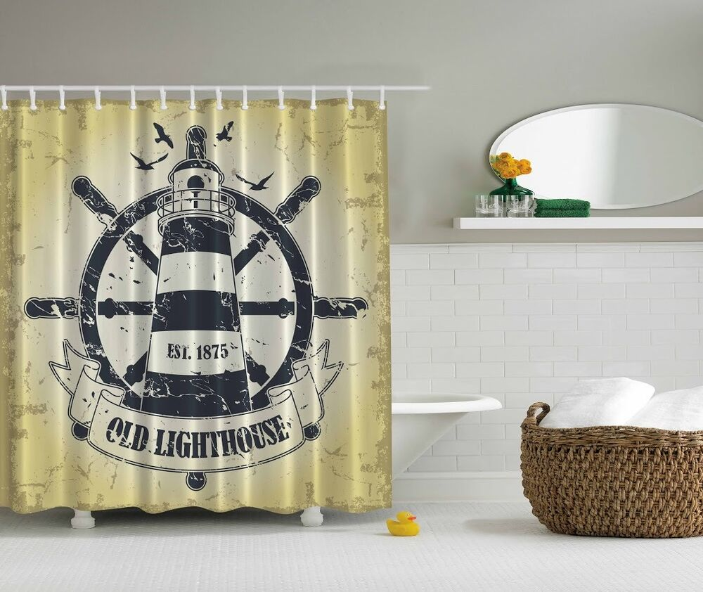 Rustic old lighthouse graphic shower curtain birds beach for Bathroom decor lighthouse