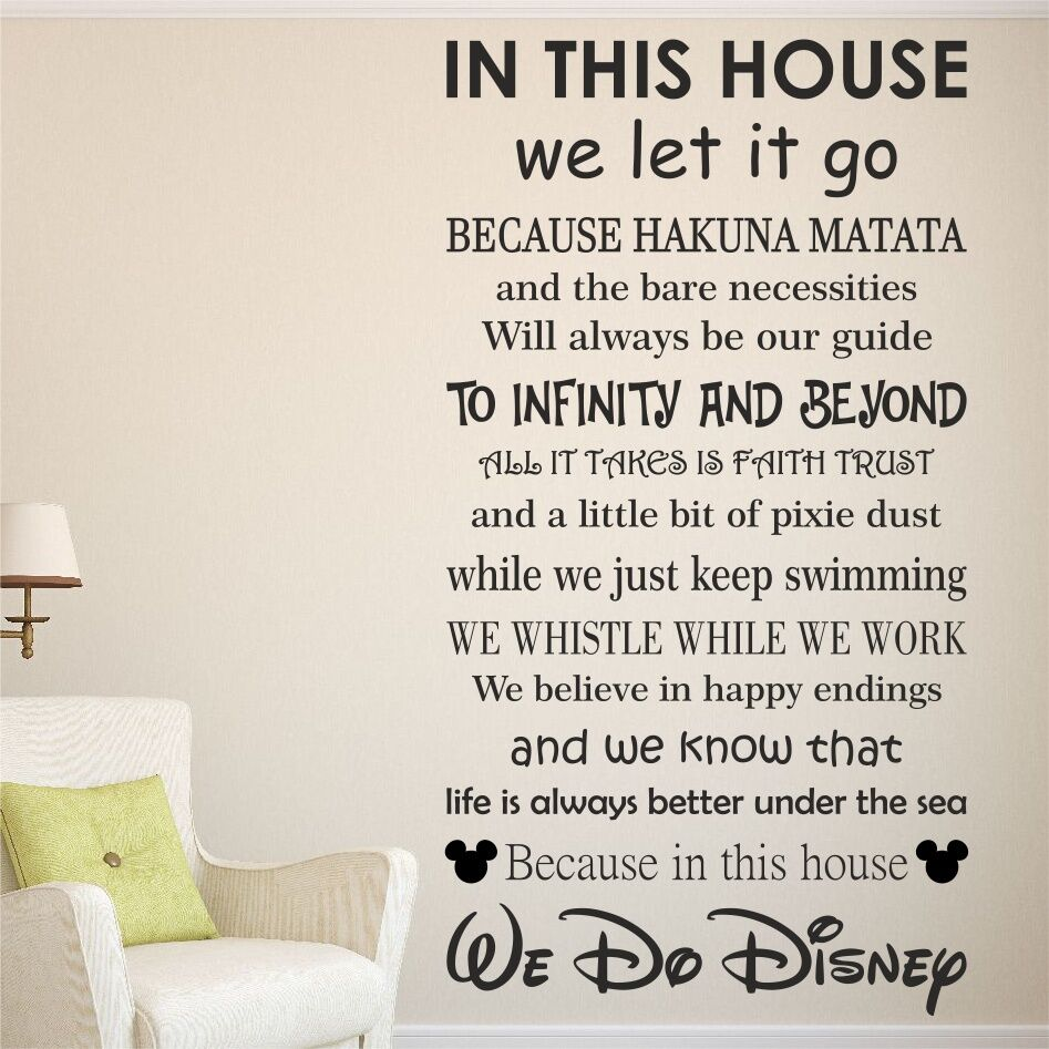 We Do DISNEY House Rules Vinyl Wall Art Sticker Quote Kids