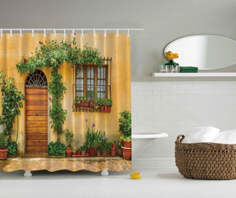 Details About Vintage Retro Italian Door Graphic Shower Curtain Garden Patio Vine Flower Decor