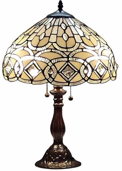 Tiffany Style Geometric Table Lamp Desk Lamps Decorative Glass Shade Bed Light Ebay