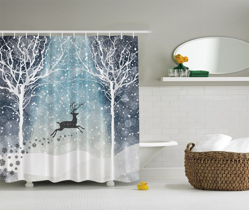 Frost Winter Snow Forest Trees Snowflakes Fabric Shower Curtain Bathroom Decor