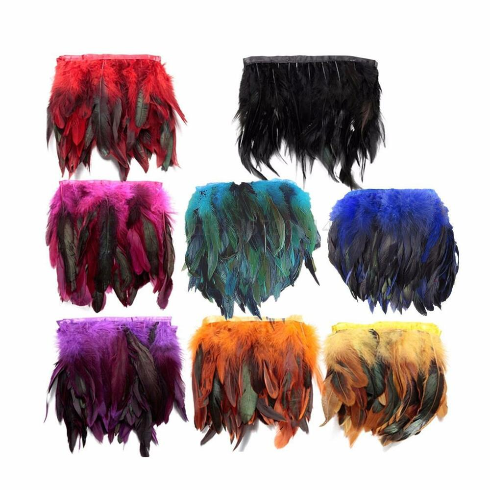 1 metre rooster hackle coque feather fringe craft trim for Where can i buy feathers for crafts