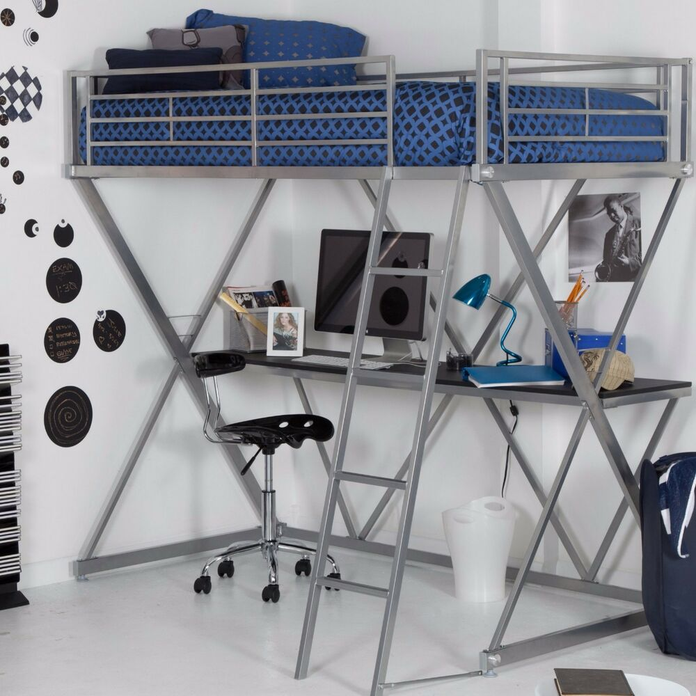 Loft Bed With Desk Space Saver Twin Bunk Bed Kids Bedroom