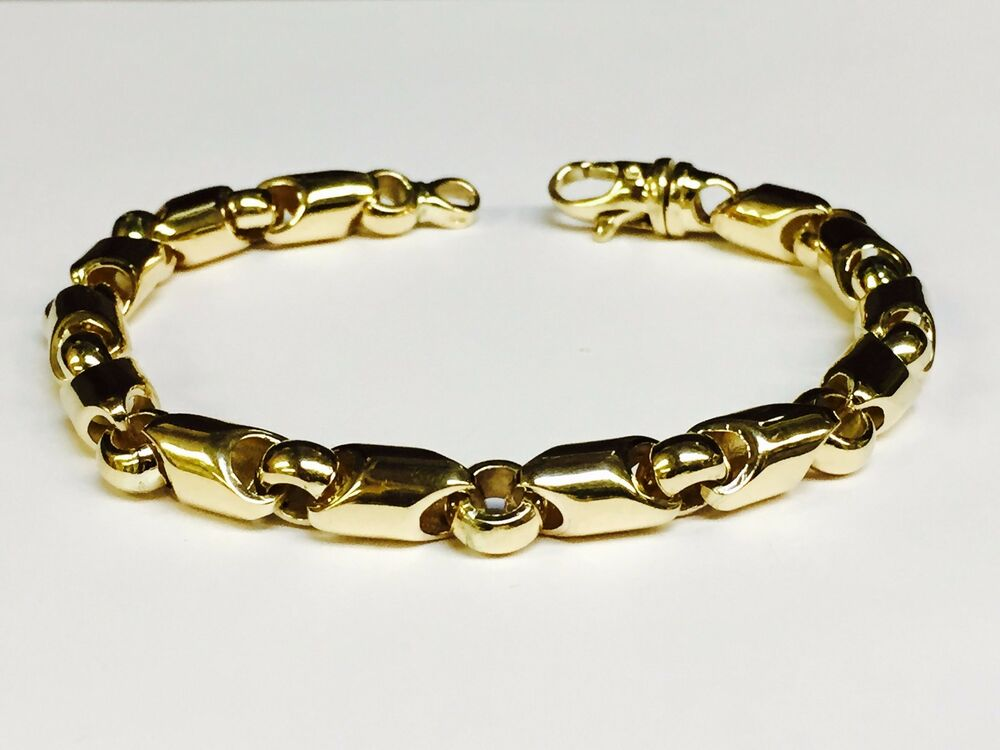 14kt yellow gold handmade link men 39 s chain bracelet. Black Bedroom Furniture Sets. Home Design Ideas